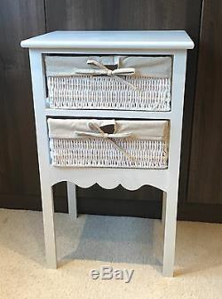 Set 2 Tables De Chevet Blanches Paniers De Rangement En Osier Armoire De Chambre À Coucher Table De Chevet 13