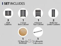 Set Cabinet Entrepôt En Acier Atelier 8 Pièces Garage Garde-meubles Gris