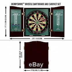 Soies Dartboard Autorétablissement Conseil Sisal Cabinet Set 6 Steel Tip Darts 18 Nouveau