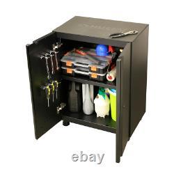 Soudé 109 In. W X 75 In. H X 19 In. D Steel Garage Cabinet Set In Black 6-piec