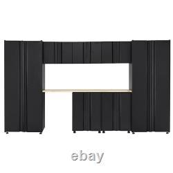 Soudé 133 In. W X 75 In. H X 19 In. D Steel Garage Cabinet Set In Black 8-piec