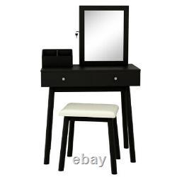 Table Dressing Moderne Et Armoire À Bijoux Avec Serrure Set Avec Miroir 2 Tiroir Us