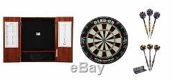 + Tip Dartboard Bristle Acier Dartboard Cabinet + 2 X Ensembles Dart