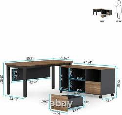 Tribesigns L-shaped Computer Desk With Storage Drawers Cabinet Set Rustic Walnut