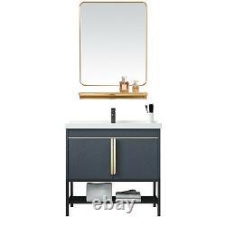 Vanité De Salle De Bains Avec Mirror Céramique Vaisseau D'évier De Bateau Ensemble Cabinet En Acier Inoxydable