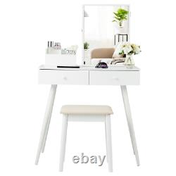 Vanity Dressing Table Set Armoire À Bijoux Verrouillable Avec Miroir