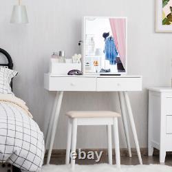 Vanity Dressing Table Set Armoire À Bijoux Verrouilleable Avec Miroir