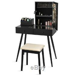 Vanity Set De Table Coiffeuse Set Verrouillables Bijoux Avec Miroir