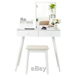 Vanity Set De Table Miroir Coiffeuse Ensemble Withlockable Armoire À Bijoux Cabinet