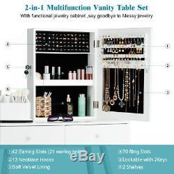 Vanity Set De Table Withmirror Coiffeuse Ensemble Withlockable Armoire À Bijoux Cabinet