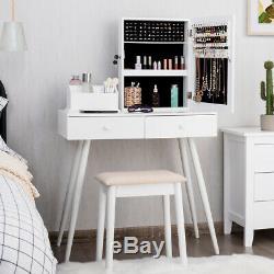 Vanity Set De Table Withmirror Coiffeuse Tabouret Verrouillables Armoire À Bijoux Cabinet