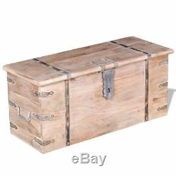 Vidaxl 2 Pièces En Bois Massif Coffre De Rangement Ensemble Verrouillables Table Basse Cabinet