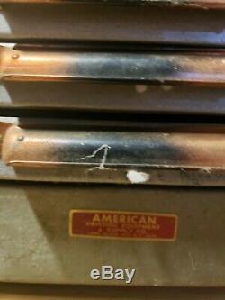 Vintage Letterpress Type Set 24 Imprimante Acier Tiroirs