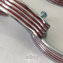 Vintage Set 6 Rouge En Acier Inoxydable Ridged MCM Retro Tiroirs Poignées Poignées
