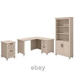 Volcano Dusk 51w X 57d L Shaped Desk With Bookcase & File Cabinet Dri'wood Dreams