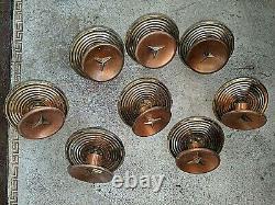 Vtg Set 8 MCM Amerock Cabinet Door 4371 Concave Copper Brass Star Pulls Knobs