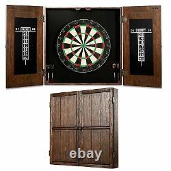 Webster Collection Vendu Wood Dart Board Cabinet Set, Steel Tip Darts