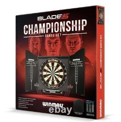 Winmau Championship Dartboard, Darts & Cabinet Full Set Blade 5 Professionnel